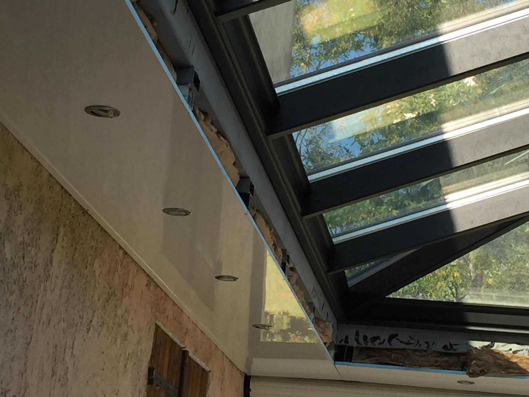 V randa 4 pentes avec faux plafond installateur v randa - Double vitrage saint gobain ...